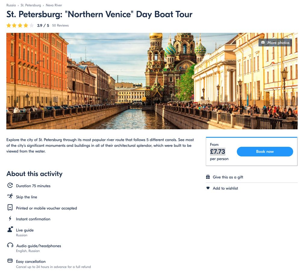 St Petersburg - Northern Venice Day Boat Tour - pounds