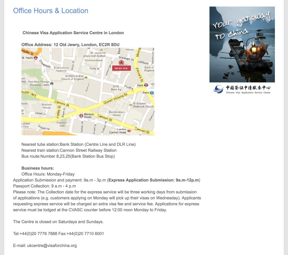 Office Hours and Location - Chinese Visa center in London