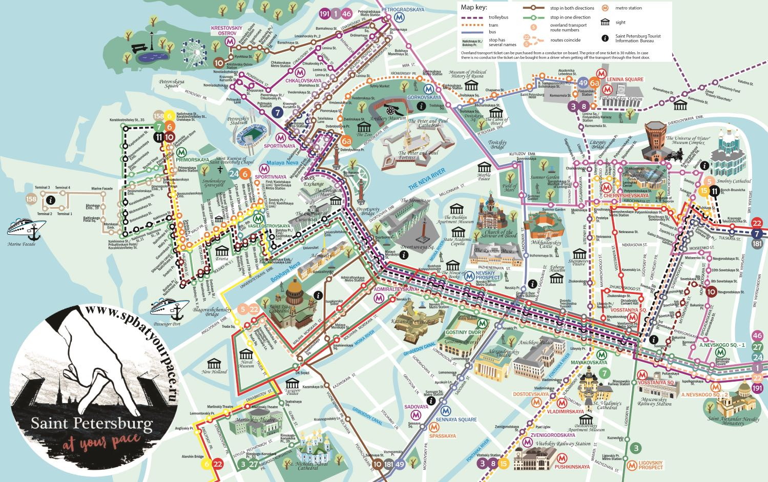 St Petersburg tourist map City center - High resolution