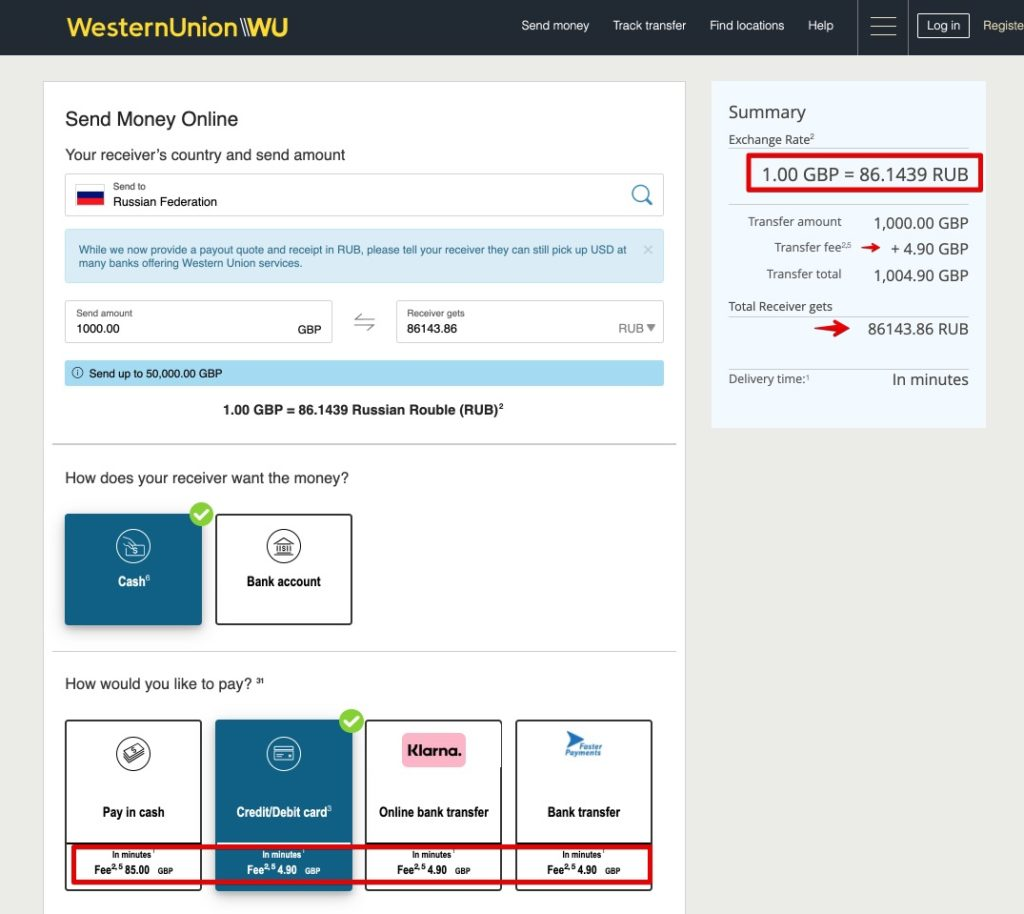 Send money to Russia by Western Union GBP pounds