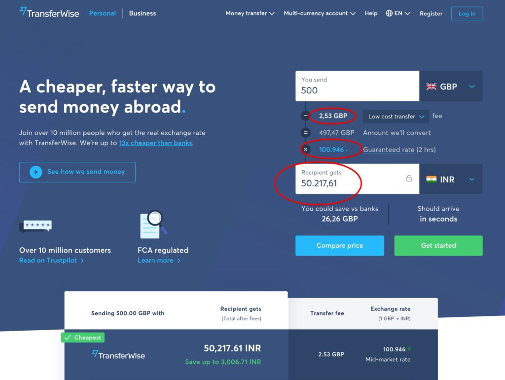 Send money from UK to India with TransferWise